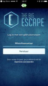 Kies je gebruikesnaam in The Big Escape applicatie
